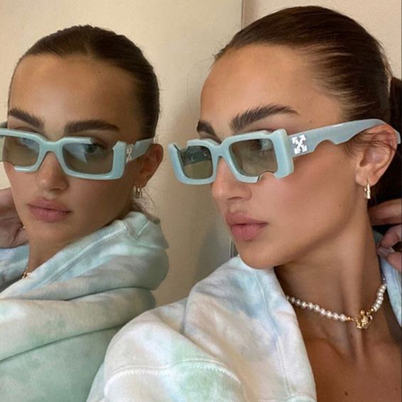 Kleine Rechteck Sonnenbrille Frauen Vintage Designer Grün Schwarz Löcher Sonnenbrille Männer 2021 Marke Shades Fashion Platz Brillen