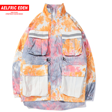 Aelfric Eden Patchwork Pockets Men Cargo Jackets 2019 Fashion Casual Streetwear Color Clock