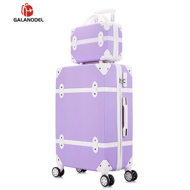 Suitcase On Wheels Women Hard Retro Rolling Luggage Set Trolley Baggage With Cosmetic Bag Vintage Suitcase Set For Girls Student