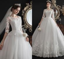 Hot Sale Half Sleeve Wedding Dresses 2019 Bridal Gowns New Lace Embroidery A-line Dress Vestido De Noiva