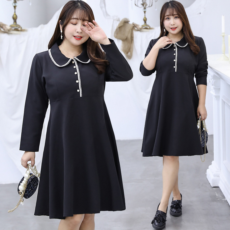 [Xuan Chen] Fat Mm Elegant Graceful Dress Autumn New Style Plus-sized Mid-length Skirt On Behalf Of W042