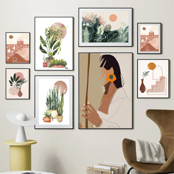 Abstract Vintage Girl Potted Plant Leaves Wall Art Canvas Painting Nordic Posters And Prints Wall Pictures For Living Room Decor abstract girl figure leaves flower boho wall art canvas painting nordic posters and prints wall pictures for living room decor