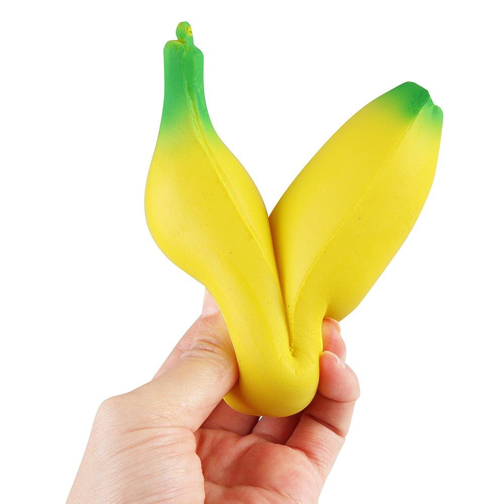 Cute Banana Squishy Super Slow Rising Jumbo Simulation Fruit Phone Straps Soft Cream Scented Bread Cake Kid Toy Gift