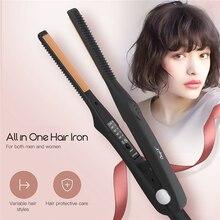 Ultra cienka lokówka z prostownicą do włosów profesjonalne ceramiczne płaskie żelazko do krótkich włosów dla kobiet i mężczyzn szybka stylizacja regulowane narzędzia 45