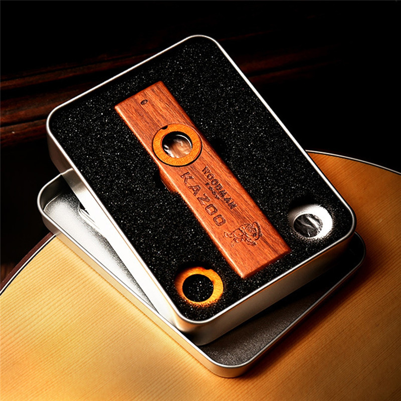 Popular Wooden Woodman Kazoo Orff Instruments Ukulele Guitar Partner Wood Harmonica With Metal Box 1pcs