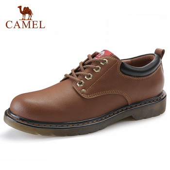 CAMEL Genuine Leather Men's Shoes Tie Retro Fashion Outdoor/Daily/Business Casual Shoes Men Cowhide Tooling Boots