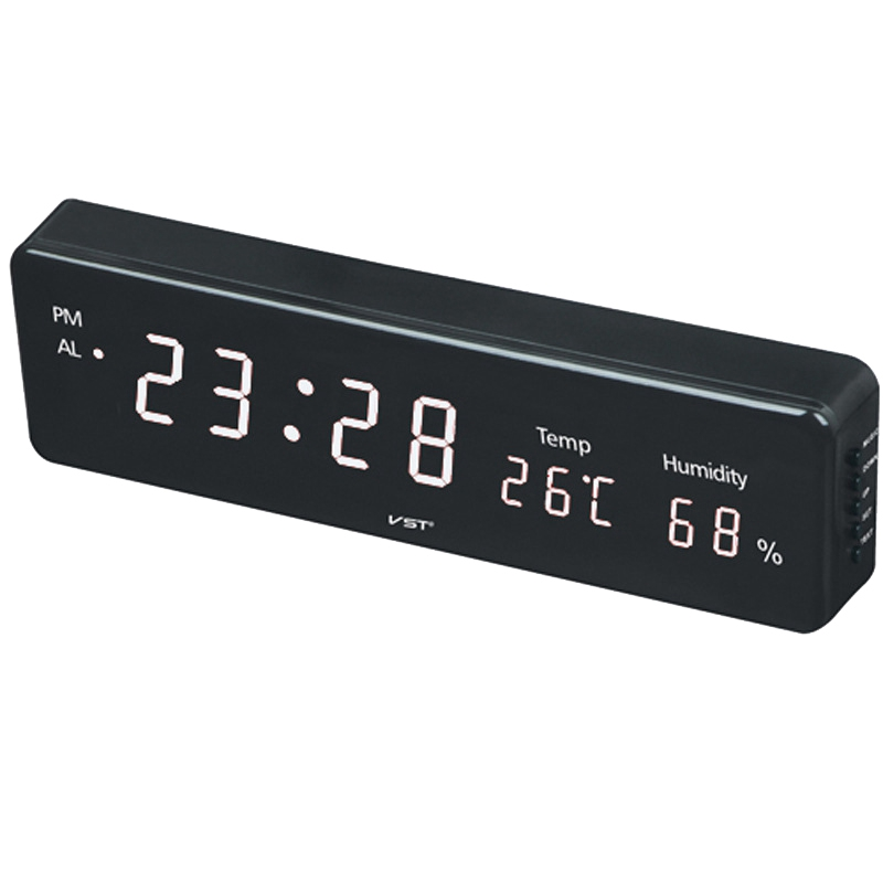 Digital LED Alarm Clock Large Screen Bedroom Electronic with Thermometer Hygrometer Desk Watch Table Clock