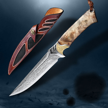 Damascus Steel Hunting Knife White Shadow Wooden Handle Fixed Blade Knife Camping Knife Outdoor Tool Tactical Knife