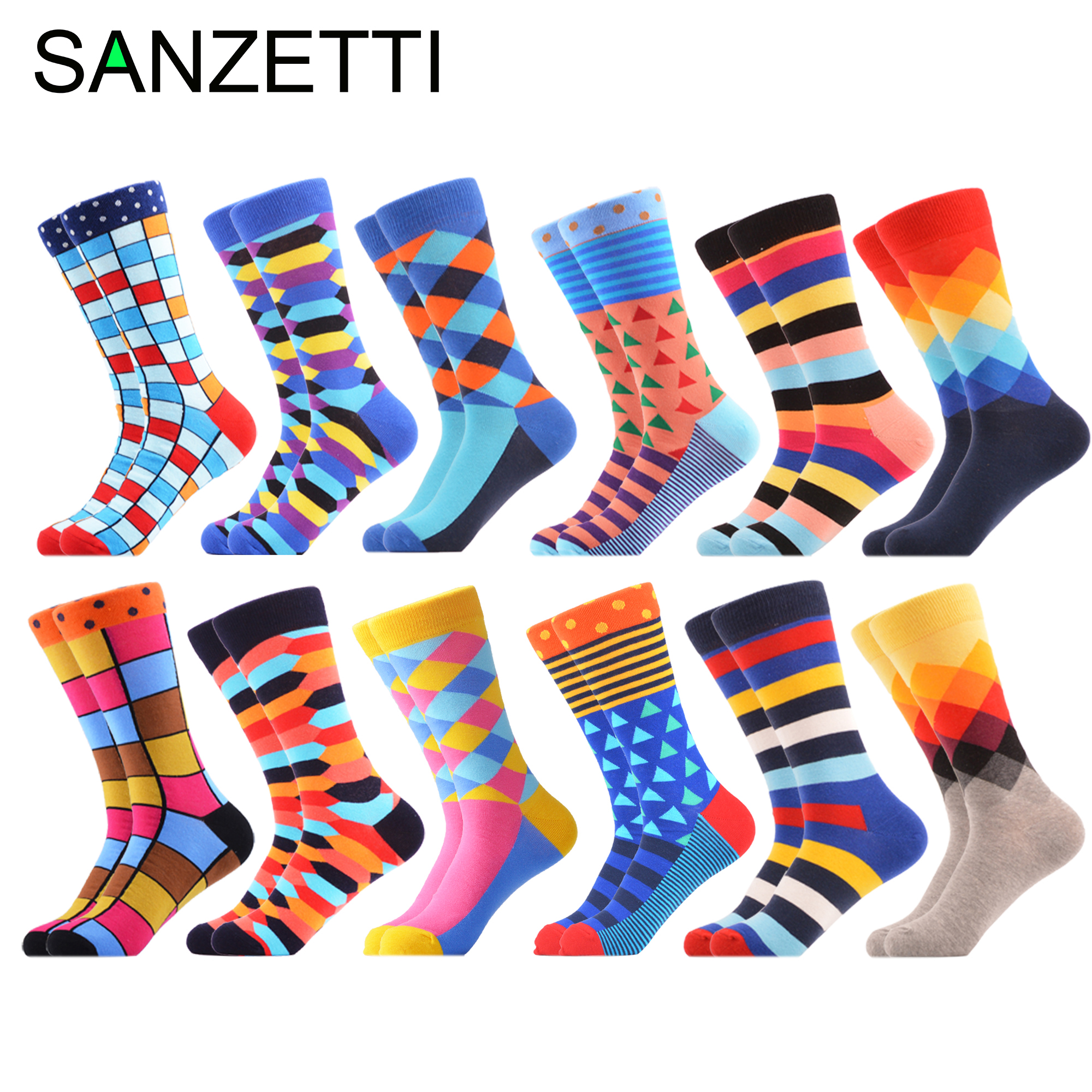 SANZETTI 12 Pairs/Lot 2019 Men Combed Cotton Casual Tube Socks Colorful Dress Striped Plaid Comfortable Party Gift Classic Socks