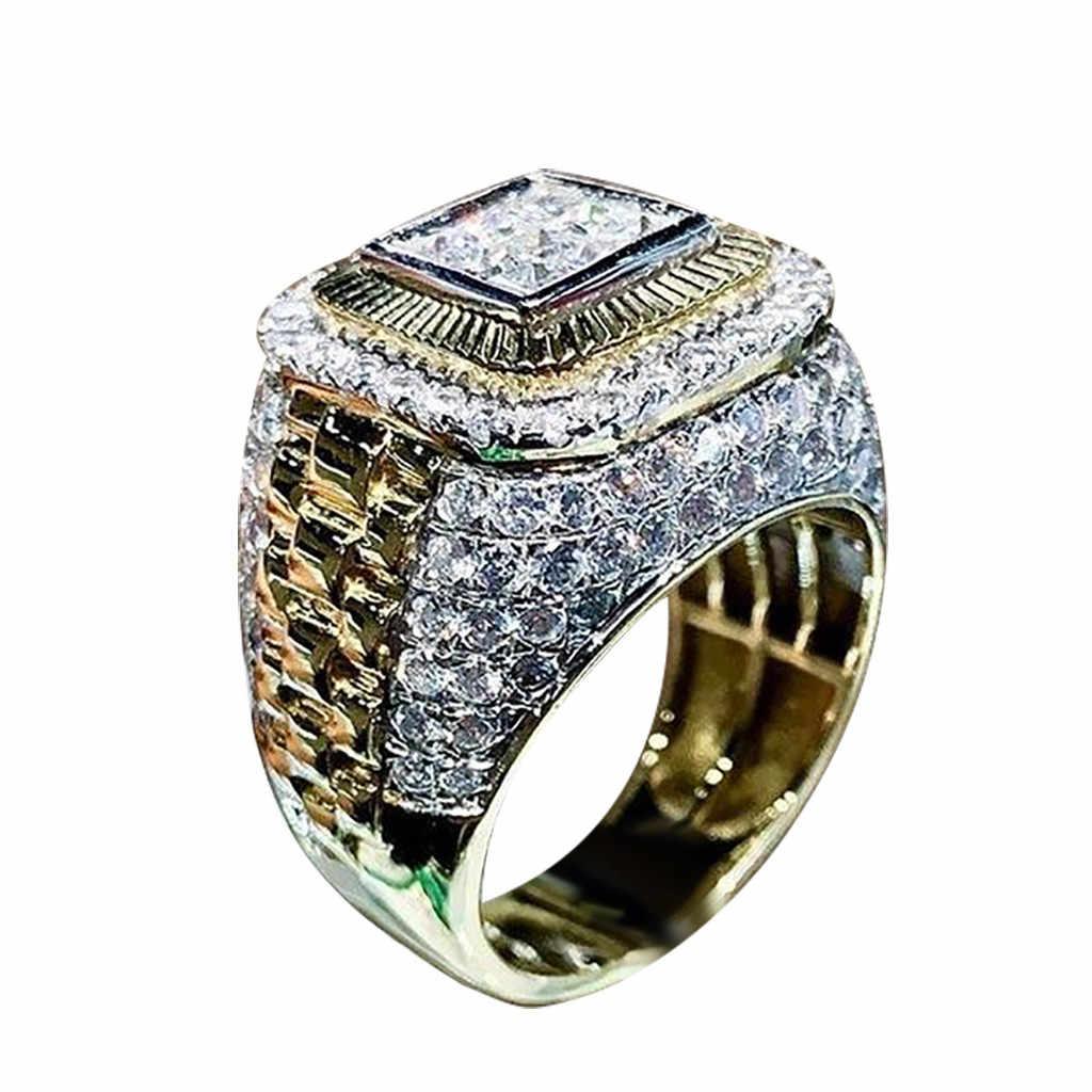 세트 우아한 반지 은색의 웨딩 약혼 패션 전체 반짝이 지르콘 여성 반지 크기 6-13