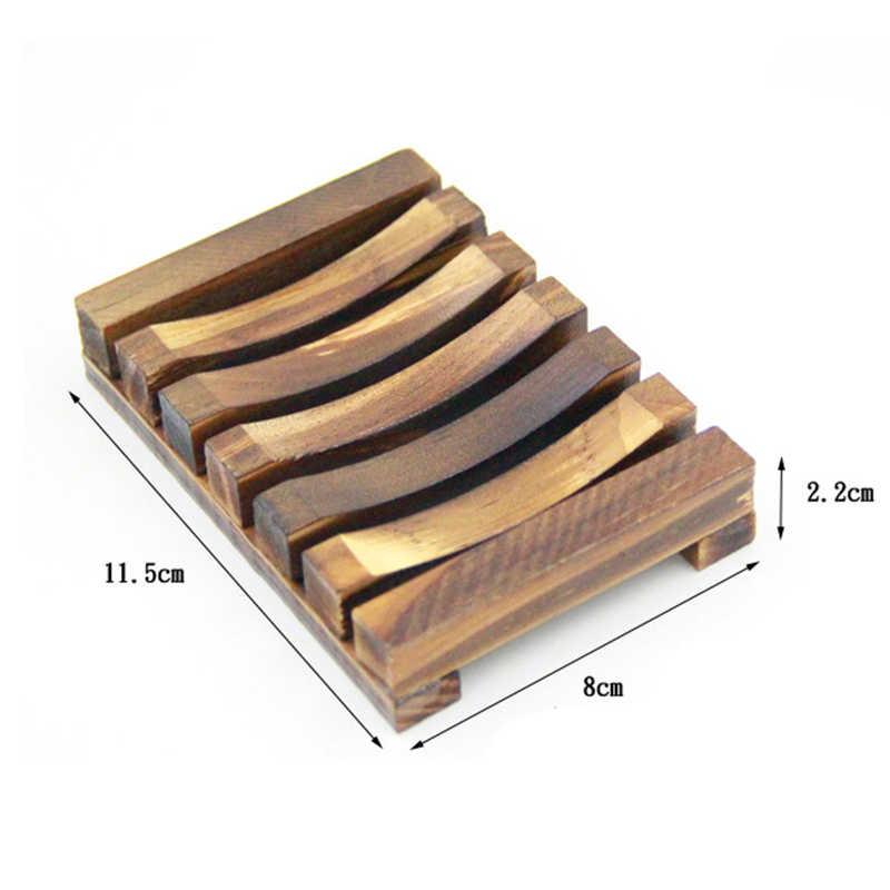 Mydelniczka łazienka przechowywanie pod prysznic wsparcie płyta naturalne drewniane mydło bambusowe danie nietoksyczny poliuretanowy