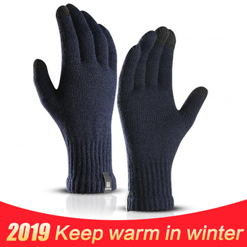 Winter Knitted Wool Touch Screen Gloves Men Warm Short Plush Lining Full Finger Sport Cycling Gloves Mittens Guantes New new fashion winter gloves women knitted gloves solid cartoon knitted mittens outdoor warm full finger elegant female gloves