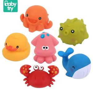 6pcs/set Sea Animals Swimming Water Toys Mini Colorful Soft Floating Rubber Duck Squeeze Sound Funny Baby Bath Toys For Kids