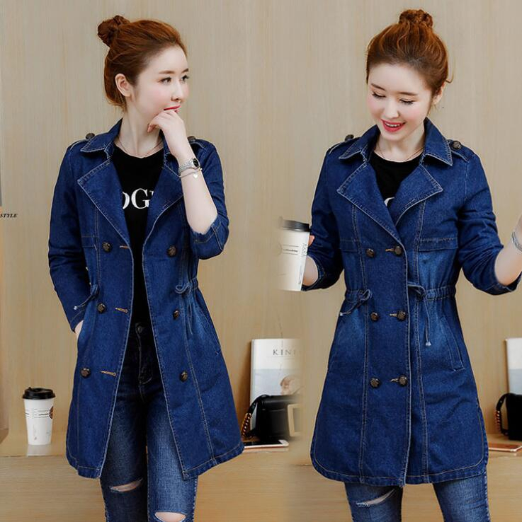 3323 Spring Autumn Double Breasted Denim Jacket Women Long Embroidery Jeans Jacket Plus Size 4XL