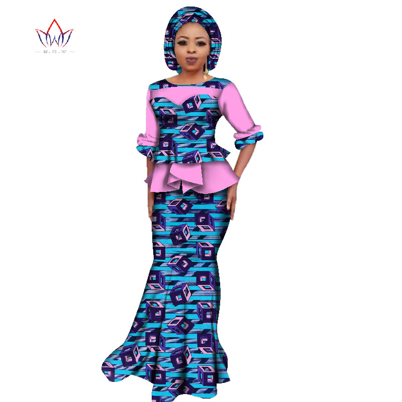 2019 Summer African Dashiki For Women O-neck Skirt Set Natural Bazin Riche African Fashion Clothing Cotton Plus Size BRW WY2394
