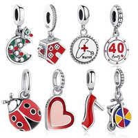 ELESHE-abalorios de plata de ley 925 con diseño de corazón de enfermera, Charms para pulsera customizable