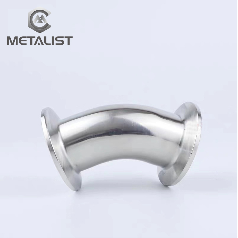 """METALIST 19mm-89mm OD SS304Sanitary Ferrule 45 Degree Elbow Pipe Fitting For Homebrew Fit1.5""""-4"""" Tri Clamp"""