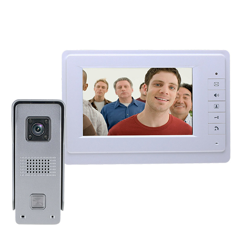 Visual Intercom Doorbell 7'' TFT Wired Video Door Phone System Indoor Monitor 700TVL Outdoor IR-CUT Camera Support Unlock