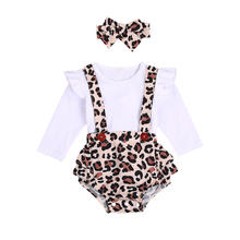 Newborn Baby Girl Fall Outfits Infant Cute Suspender Button Leopard Ruffle Bodysuit Headband 2Pcs Clothes Set 2020 Autumn Winter(China)