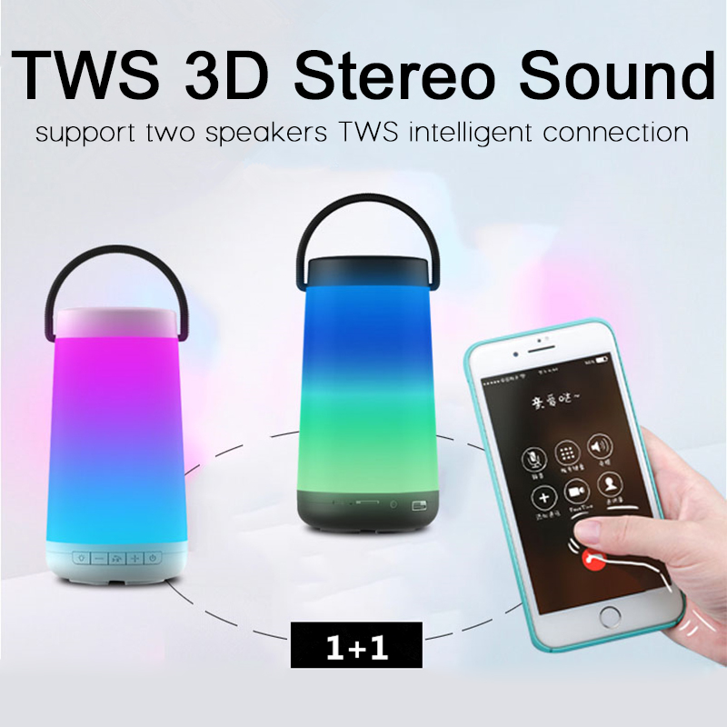 High power 30W Bluetooth speaker colorful portable wireless column 360 lights Stereo subwoofersound system soundbar for FM radio