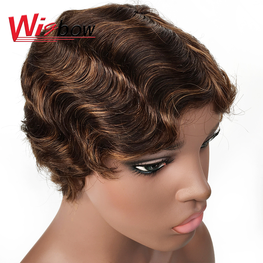 Hair Short Lace Human Hair Wigs For Women Brazilian Finger Wave Wig Remy Human Hair Pixie Cut Lace Wigs For Black Women Fast