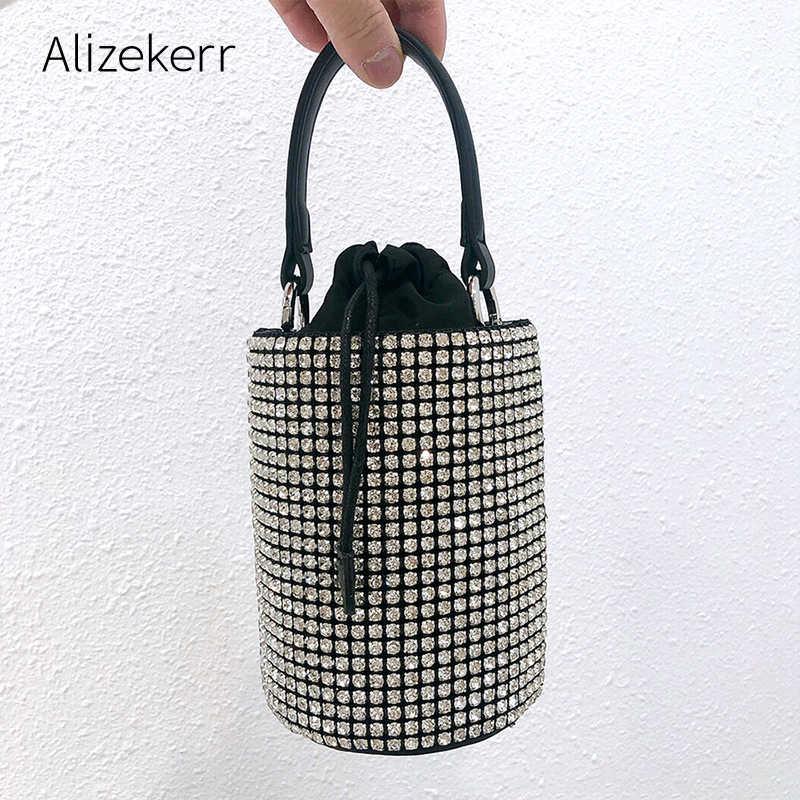 Glänzenden Strass Eimer Handtasche Frauen 2020 Neue Koreanische Trend Silber Diamanten Kupplung Geldbörsen Und Handtaschen Damen Kleine Schulter Tasche