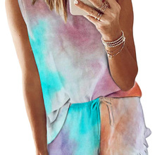 Pajamas Two-Piece-Suit Casual Fashion Women's Summer Ladies New Sleeveless Tie-Dye Round-Neck
