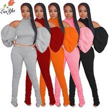 Enyu-Conjunto de 2 piezas formado por Top y pantalón, manga larga, estilo Halter, para otoño, 5 colores, 2020