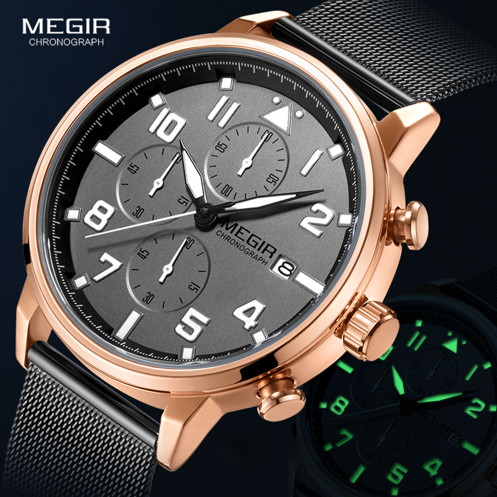 Megir мужские часы люксовый Топ бренд chornographic кварцевые