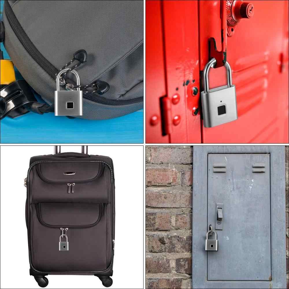 合金セキュリティレス USB 充電式ドアロック指紋スマート南京錠クイック解除亜鉛合金金属自己開発チップ