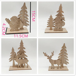 1 SET Elk Xmas Tree Santa Claus Pendants Hanging Wooden Christmas Ornaments Party DIY Decor Home Garden Decorative Supplies 4