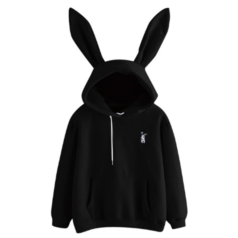 QRWR 2020 Autumn Winter Women Hoodies Kawaii Rabbit Ears Fashion Hoody Casual Solid Color Warm Sweatshirt Hoodies For Women 5