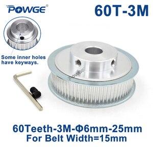 Синхронный ролик POWGE 60 зубцов HTD 3 M, диаметр отверстия 6/8/10/12/15/17/19/20/25 мм для ширины 15 мм 3 м, Ремень ГРМ HTD3M, 60 T 60 зубцы