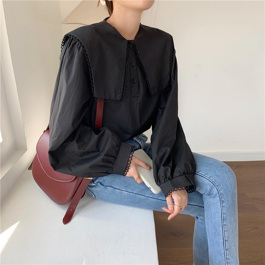 H50777b2ad1594c6e8d82e86796d75359s - Spring / Autumn Puritan collar Long Sleeves Solid Blouse