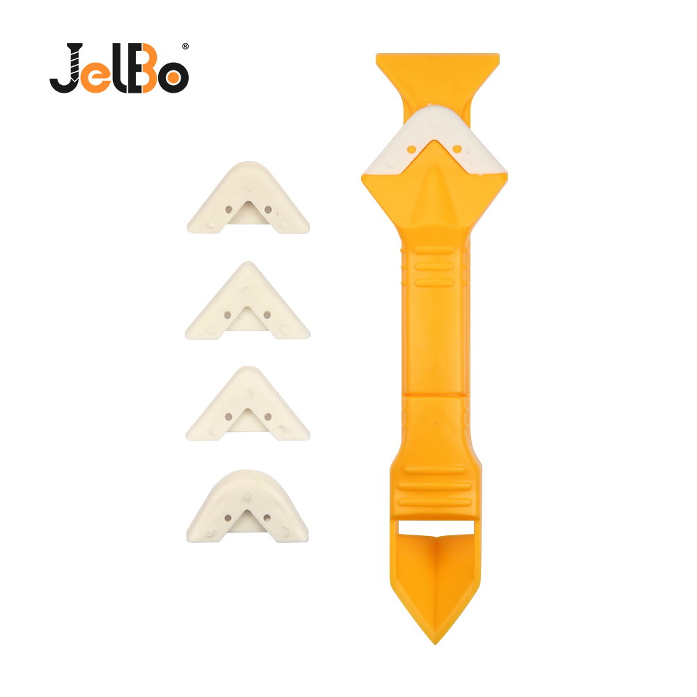 JelBo Silicone Scraper Caulking Grouting Hand Tool 3 In 1 Kitchen Window Cleaner Scrapers Set For Finishing Grout Floor Cleaning