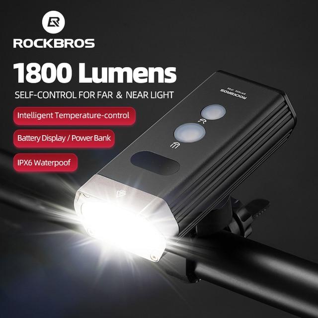 ROCKBROS Bicycle Light IPX 6 Waterproof Bike Flashlight Power 1800 Lumens LED USB Rechargeable Bicycle Handlebar Light Headlight