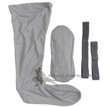 Cinza algodão shaolin templo budista monge longo kung fu meias artes marciais terno tai chi uniforme perna guardas envoltórios