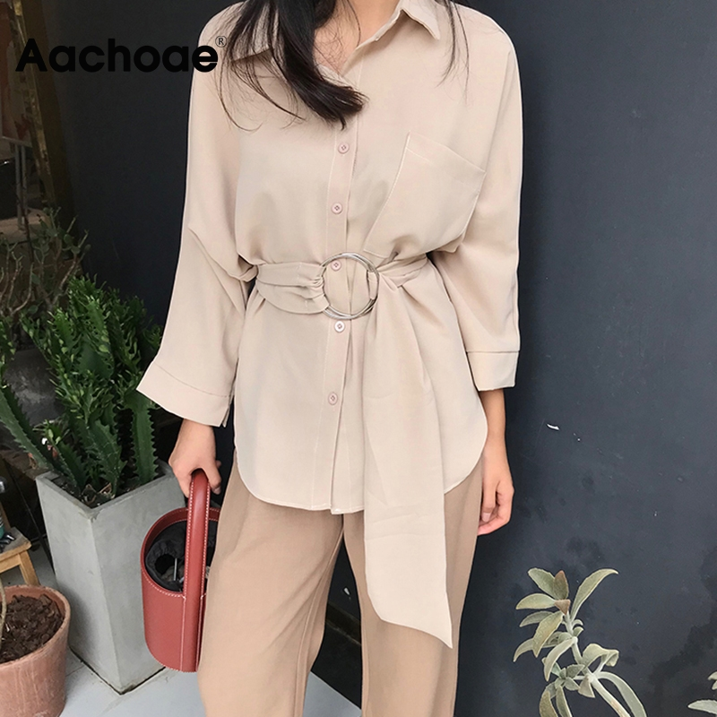 Aachoae Women Casual Long Sleeve Blouse With Belt 2020 Turn Down Collar Office Ladies Shirt Fashion Pocket Solid Tunic Tops
