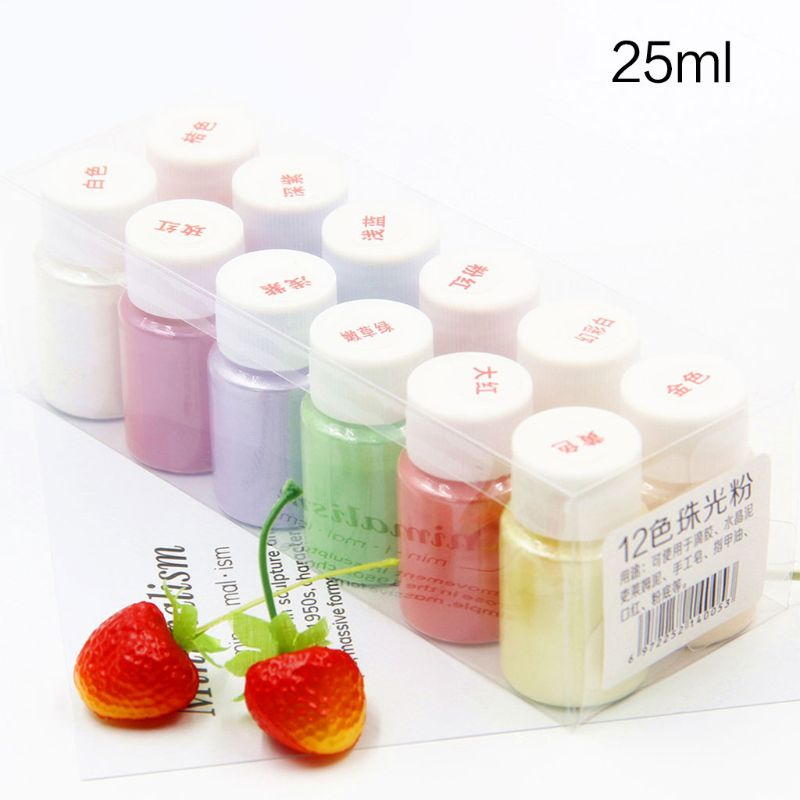 12 Pcs/set DIY Crafts Jewelry 12-color Pearl Powder Pigment Crystal Epoxy Filler Material Slime Mud Colorant T4MD