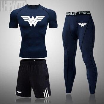 Wonder Woman Men's full Suit Compression Sport Suit Gym joggers Running Short sleeve Shirts leggings Basketball sportwear 15