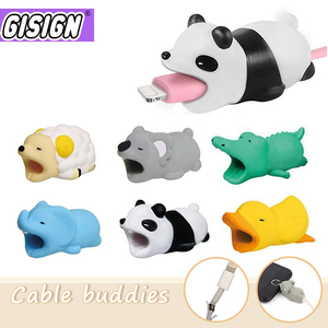 Cute Animal Cable Bite Protector For Iphone Android Bear Dog Anime Cartoon Funny Cable Biter Phone Holder Buddies Accessories