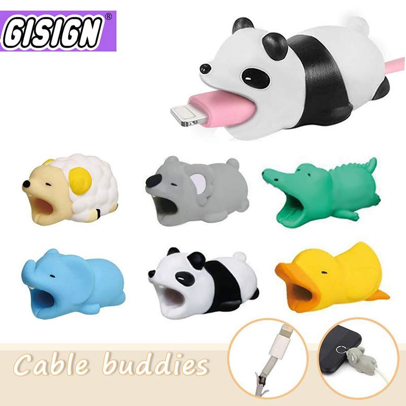 Cute Animal Cable Bite Protector For Iphone Android Bear Dog Anime Cartoon <font><b>Funny</b></font> Cable Biter Phone Holder Buddies Accessories image