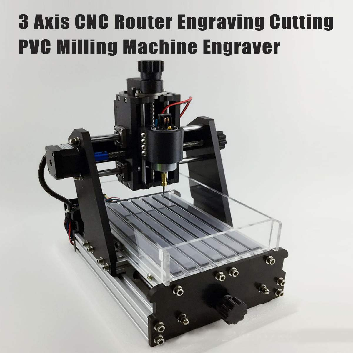 3 Axises CNC Router DIY Mini Engraving Machine Engraving Cutting PVC Milling Machine Engraver No Laser 100V-240V Wood Router