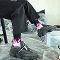 Горящая носки с пламенем обувь для мужчин и женщин из хлопка европейские, американские уличные в стиле хип-хоп Харадзюку пара Электрический...
