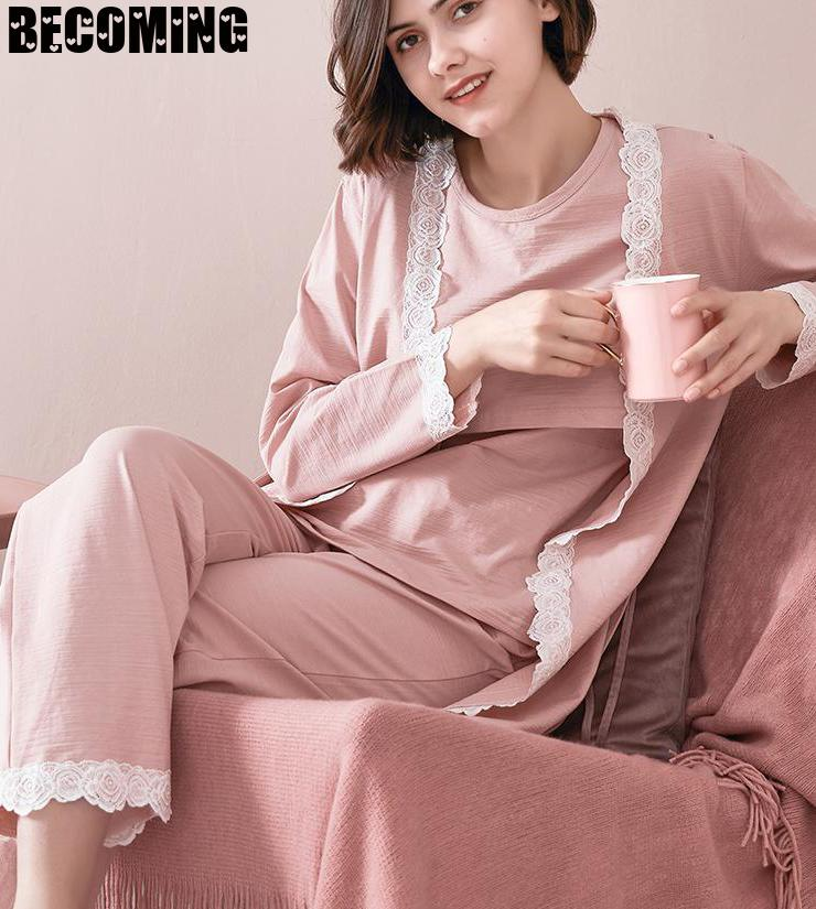 Maternity Pajamas 3 PCs/Set Maternity Nursing Sleepwear Breastfeeding Pregnant Nightwear Summer Spring Pregnancy Nursing Clothes Women Women's Clothings