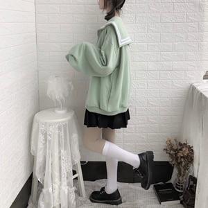 Image 3 - Kış Kawaii tatlı kız büyük boy Hoodie Streetwear Sailor yaka kazak kadınlar Harajuku fermuar giyim ceket siyah mavi