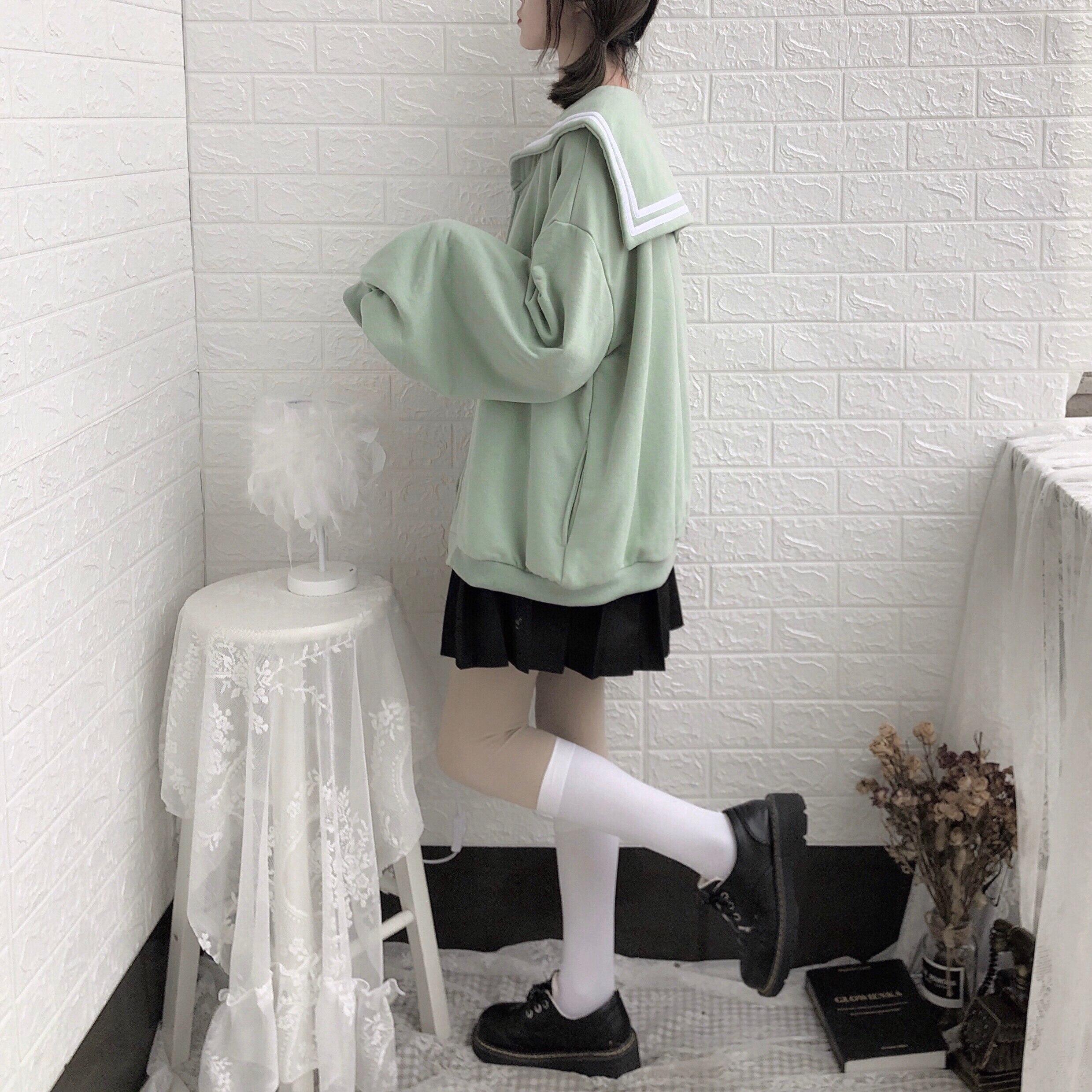 Image 3 - Winter Kawaii Sweet Girls Oversized Hoodie Soft Sister Sailor  Collar Sweatshirt Women Japanese Zipper Outerwear Coat Black  BlueHoodies