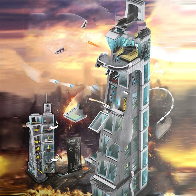 マーベルのスーパーヒーローアイアンマン復讐タワー 7th 床ビルディングブロック互換 Legoed テクニック DIY レンガアベンジャーズおもちゃ子供のため  グループ上の おもちゃ & ホビー からの ブロック の中 2