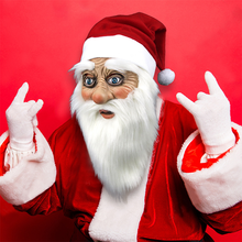 Santa Claus Masks Christmas Cosplay Funny Face Mask Wig Beard Costume Merry Xmas Party Holi