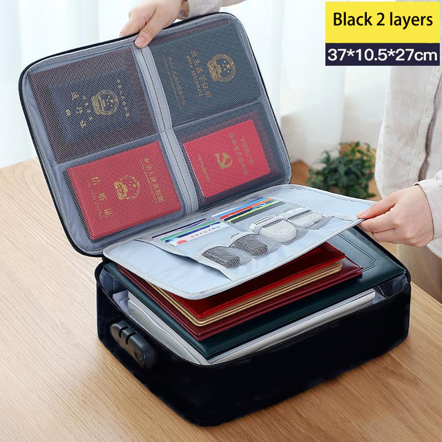 Black Fabric Waterproof Document Organizer with Lock for Travel QUMENEY Multi-Layer Large-Capacity Certificate File Bag Home Business